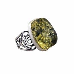 Кольца и перстни - Кольцо серебряное с янтарём зелёным, 0