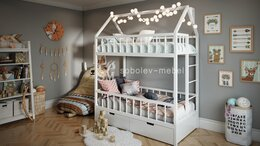 Кроватки - Двухъярусная кровать домик с ящиками, 0