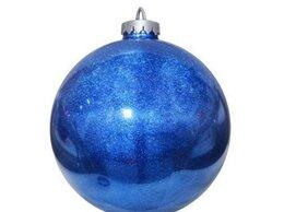 Новогодний декор и аксессуары - Шар 250 мм, с глиттером лакированный, синий, 0