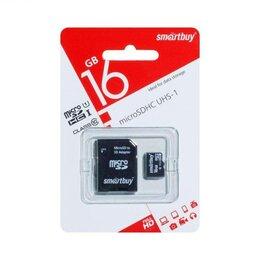 Карты памяти - Карта памяти microSD Smartbuy 16GB + адаптер SD Class 10, 0