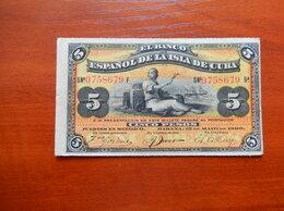 Банкноты - КУБА 5 песо 1896 г.  PLATA, 0