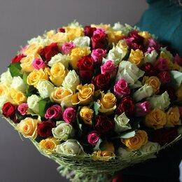 Цветы, букеты, композиции - 101 роза от 50см разноцветная mix, 0
