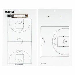 Массивная доска - Такт. доска для баск. «TORRES», арт. TR1003B, маркерная, с зажимом, в компл. мар, 0