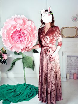 Платья - Новое Длинное Бархатное Платье с Юбкой Плиссе (42), 0