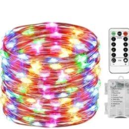 Новогодний декор и аксессуары - Гирлянда цветная 5м на батарейках с пультом, 0