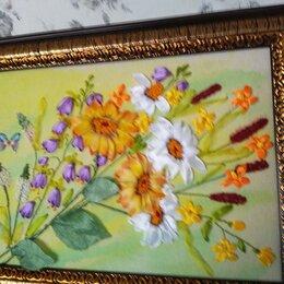 Интерьер - Полевые цветы- картина лентами., 0