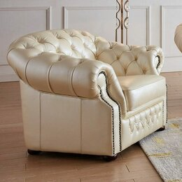 Кресла - Кресло мягкое из кожи бежевое ESF, 0