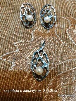 Комплекты - комплект серебро с жемчугом, размер 3*1,8см   , 0