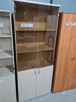 Шкафы для документов - Шкаф для документов со стеклом, дуб беленый, б/у, 0
