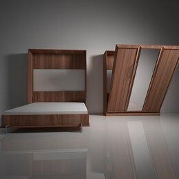 Кровати - Подъемная двуспальная кровать в шкафу с зеркалом…, 0