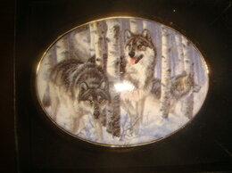 Ремни и пояса - Пряжка для ремня волки серебро с позолотой, 0