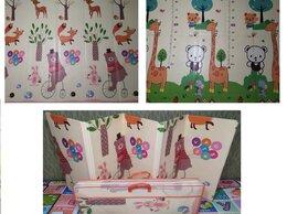 Развивающие коврики - Складной коврик Медведь на вело/ Жирафы (ростомер), 0