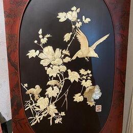 Картины, постеры, гобелены, панно - японское панно с цветами,птицами, авторское ,перламутр,дерево,старинное, 0