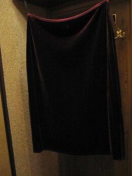 Юбки - Бархатная юбка стрейч с разрезом, 0