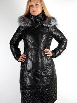 Пуховики - Зимний женский пуховик из натуральной кожи с мехом, 0