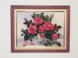 Картины, постеры, гобелены, панно - Картина вышитая лентами «Розы для Вас», 0