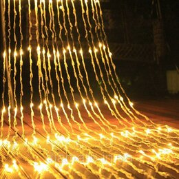 Уличное освещение - Светодиодный дождь ВОДОПАД. Желтый. Размер 2*3, 0