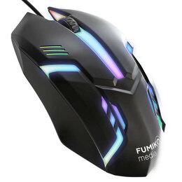 Мыши - Мышь проводная FUMIKO CM01 черная с подсветкой, 0