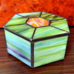 Шкатулки - Шестигранная шкатулка из витражного стекла., 0