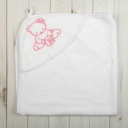 Полотенца - Детский уголок Махровый Мишка с кубиками вышивка 120х120 см (белый), 0