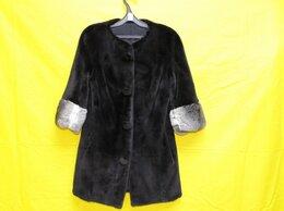 Шубы - шуба норковая с шиншилловыми манжетами черная 42…, 0