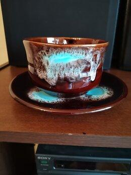 Кружки, блюдца и пары - Большая керамическая кружка супница с тарелкой, 0