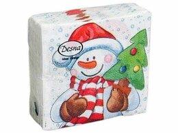 Скатерти и салфетки - Салфетки бумажные, 25*25, 1сл. 100л «Снеговик-2», 0