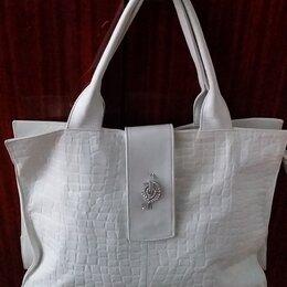 Сумки - Широкая белая сумки из кожи, 0