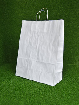 Пакеты - Крафт пакет с кручеными ручками, 450х350х150 мм…, 0