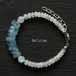 Браслеты - Браслет из аквамарина, лунного камня и серебра…, 0
