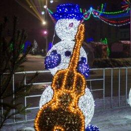 """Новогодний декор и аксессуары - Световая фигура """"Снеговик с контрабасом и нотами"""", 0"""