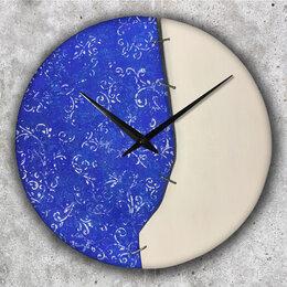 Часы настенные - Часы настенные из дерева с акрилом и текстурной…, 0