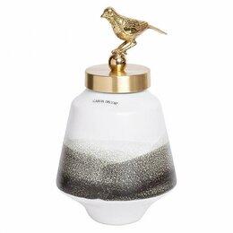 Вазы - Ваза керамическая с крышкой бело-серая 16х28 см…, 0