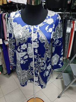 Блузки и кофточки - Блузка креп/атлас с отделкой из жемчуга.56,60,64 , 0