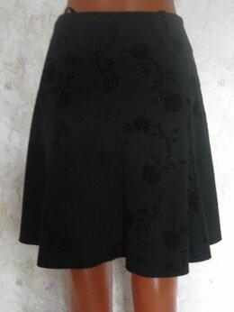Юбки - Черная юбка с набивным бархатным узором, р.46 , 0