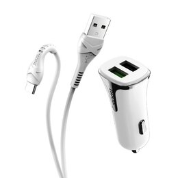 Зарядные устройства и адаптеры - АЗУ в прикуриватель (QC3.0-5V-3А) +кабель Type-C…, 0