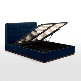 Кровати - Кровать мягкая с подъемным механизмом синяя., 0