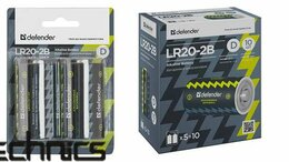Батарейки - Батарейка алкалиновая Defender LR20-2B D в блистер, 0