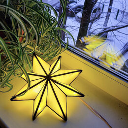 Настенно-потолочные светильники - Ночник Вифлеемская звезда из витражного стекла, 0