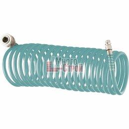 Воздушные компрессоры - Полиуретановый спиральный шланг профессиональный BASF, 15 м, с быстросъемными со, 0