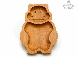 Тарелки - Тарелка деревянная с животным Бегемот, 0