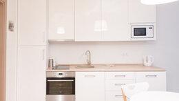 Мебель для кухни - Встроенная прямая кухня в студию белый глянец…, 0