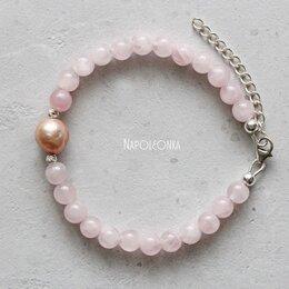 Браслеты - Браслет из розового кварца, с жемчужиной касуми.…, 0