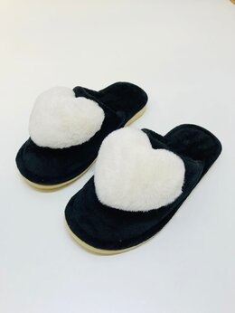 Домашняя обувь - Тапочки домашние женские сердечком закрытые, 0