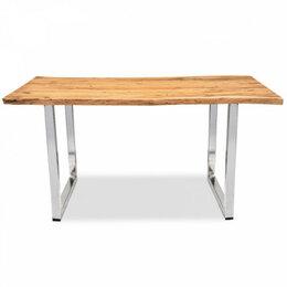 Столы и столики - Обеденный стол деревянный с ножками хром 150 см…, 0