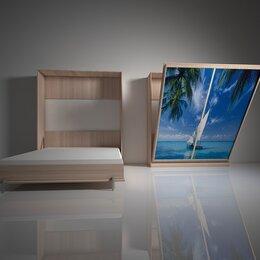 Кровати - Подъемная двуспальная кровать в шкафу 160х200. Взрослая с фотопечатью Ф-3, 0