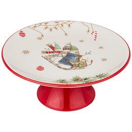 Блюда и салатники - Тортовница керамическая белая с красным на ножке…, 0