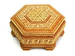 Шкатулки - Шкатулка шестигранная резная с зеркалом, 0