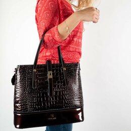 Сумки - Новая лаковая сумка 2 в 1, натуральная, большая, 0