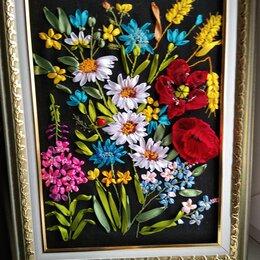 Картины, постеры, гобелены, панно - Полевые цветы- картина вышитая  лентами , 0